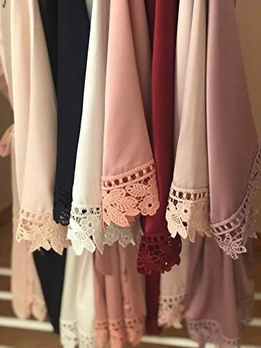Silky wedding robes with lace for bridal party Bridesmaid Gifts 12 Colors Available