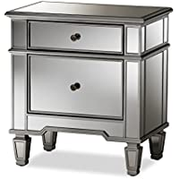 Baxton Studio Susanne Hollywood Regency Glamour Style Mirrored 2-Drawer Nightstand, Silver Mirrored