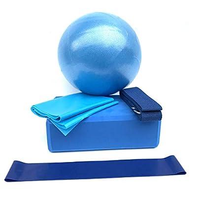 Camidy Yoga Starter Kit,5pcs/Set Yoga Set Exercise Ball Yoga Block Resistance Loop Stretching Strap Yoga Belt: Toys & Games