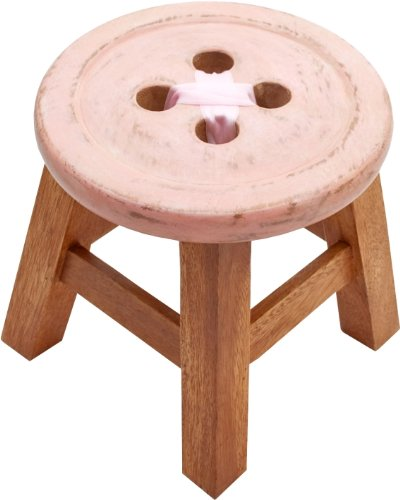 CHILD´S BUTTON STOOL IN PINK. BEAUTIFUL SHABBY CHIC STYLE STOOL ukgiftstoreonline