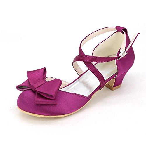 L@YC Mädchen flache Schuhe Wohnung Frühlingsherbst Bequeme künstliche Leder Hochzeit Outdoor Büro & Professionelle Side & abendkleid Purple
