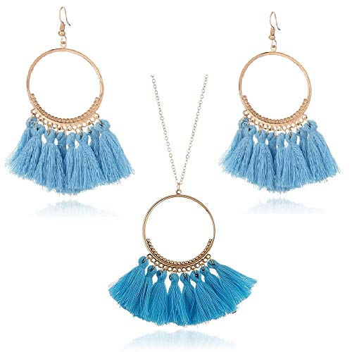 Tuoke-peri Colorful Bohemian Tassel Earrings Necklace Jewelry Sets Fan-Shaped Dangle Drop Fashion Trending Women Earrings Pendant Necklace (8 Sky) ()