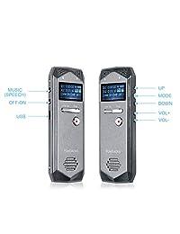 Grabadora de voz digital Powbacksy   Grabadora de voz activada con grabadora de cinta de reproducción con carga USB, grabadora de voz para conferencias y reuniones