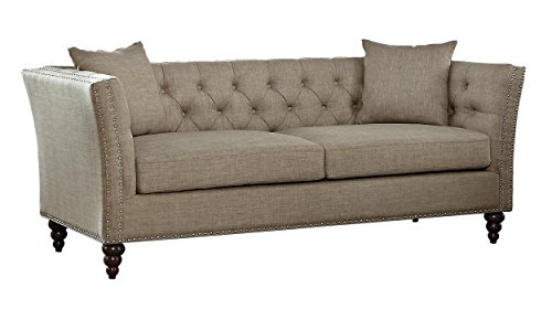 Homelegance Marceau Tuxedo Style Sofa with Flared Arm and...