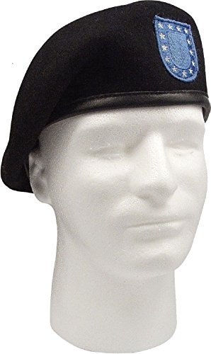 Black Military Inspection Ready Blue Flash (Cobra Caps Cotton Headband)