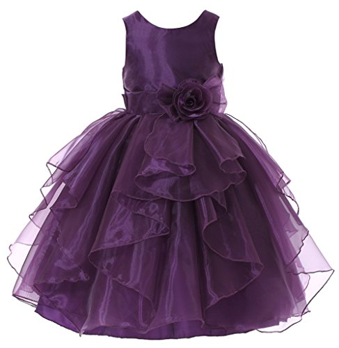 Bow Dream Flower Girl Dress Bridesmaid Organza Purple 10 -