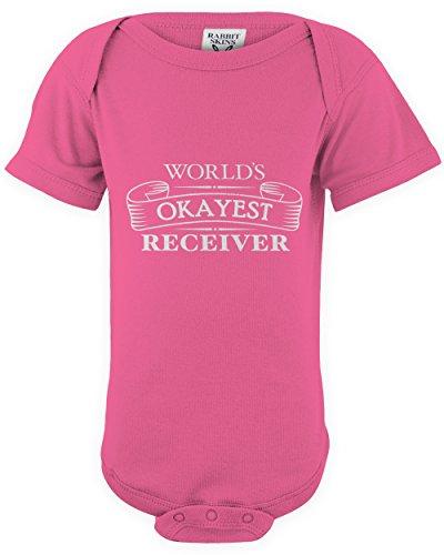 shirtloco Baby Worlds Okayest Receiver Onesie Bodysuit, Hot Pink 12 Months