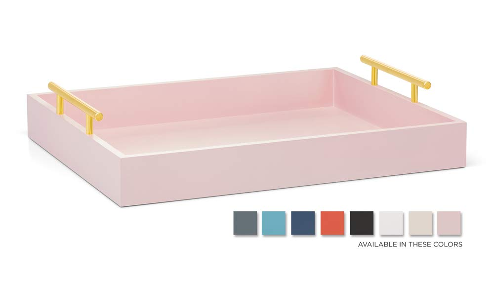 Esther Decorative Coffee Table Tray - Pink and Gold, Wood Serving Tray for Ottoman or Centerpiece, Rectangular, Polished Metal Handles, Beautiful Wooden Construction, 16.5x12.25, Soft Matte Finish by Esther
