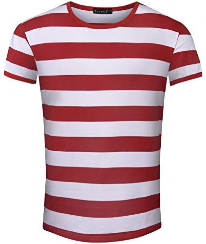 Ezsskj Men's red and White Striped Shirt Waldo Costume Shirt Tee Outfits Tops ()
