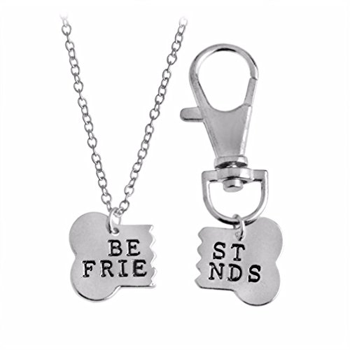 U-Beauty 2pcs/set Gold Silver Color Dog Bone Best Friends Charm Necklace Keychain BFF Bones Friendship Jewelry