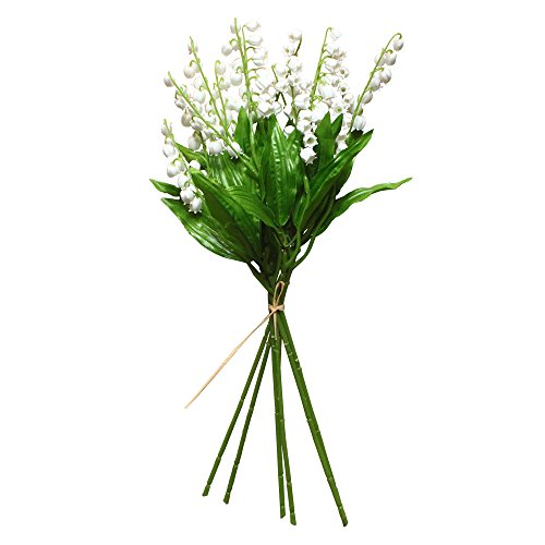 Of Lily The Bouquet Valley (Mona's Artificial Lily of the Valley Flowers Arrangement for Wedding bridal Bouquet Home decor Pack of 6 White)