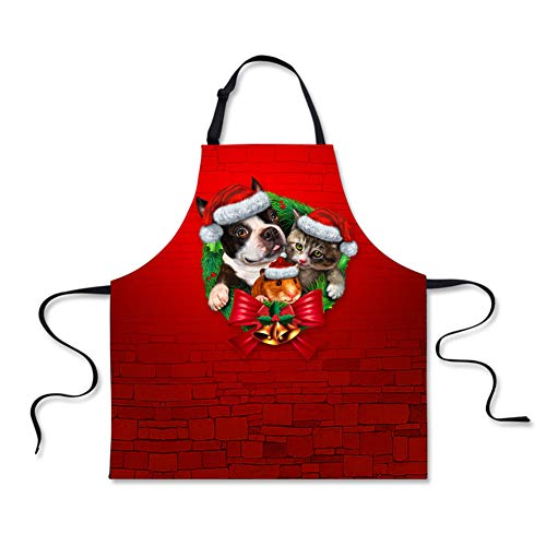 FOR U DESIGNS Women's Apron with Adjustable Bib Apron Funny Christmas Pugs Face Kitchen Apron for Cooking, Crafting, Gardening, Kitchen Cake Apron Red
