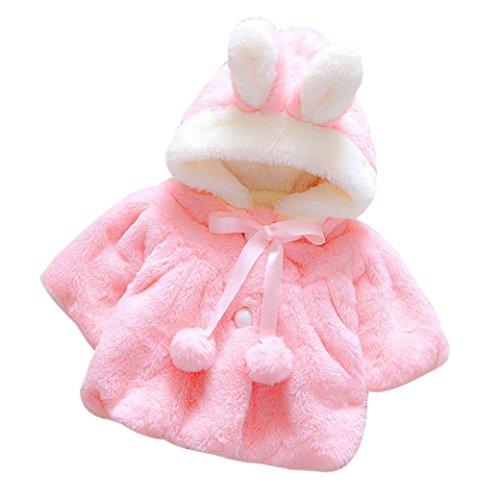 Muxika Fashion Baby Girl Fur Winter Warm Coat Cloak Jacket Thick Warm Clothes (Age:12~18 Month, Dark Pink) - Fur Dress Coat