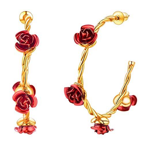 U7 Red Rose Flower 18K Gold Plated Silver Post Wide Flat Edge 40mm Hoop Earrings