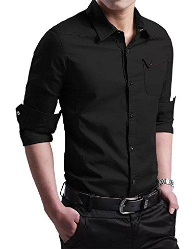 後世十億ささいなシャツ メンズ ワイシャツ 襟付き 長袖/半袖 無地 スリム ビジネス カジュアル シンプル シャツ 春 夏 秋 M-3XL 307