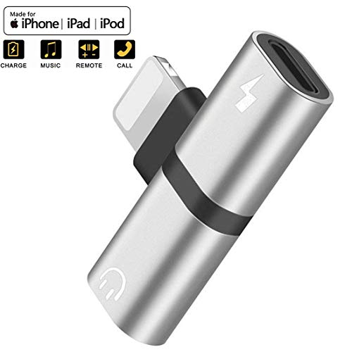 - Headphone Jack Adapter for iPhone X/XS/XS MAX/XR/8/ 8Plus/ 7/7 Plus Headphone Adapter Splitter Earphone Connector Convertor 2 in 1 Accessories Cables Call Charge Music Wire Control - Silver