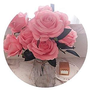 9Pcs Artificial Flower Hydrangea Wedding Birthday Decor DIY Silk Flower,Ddeep Pink B 39
