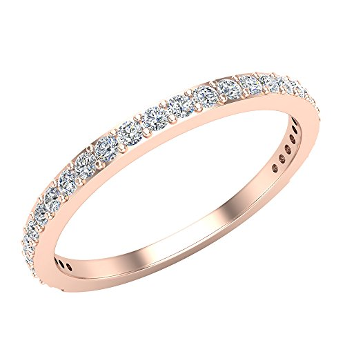 Diamond Wedding Band matching to Dainty Halo Engagement Ring 14K Gold 0.31 ct tw (J,I1)