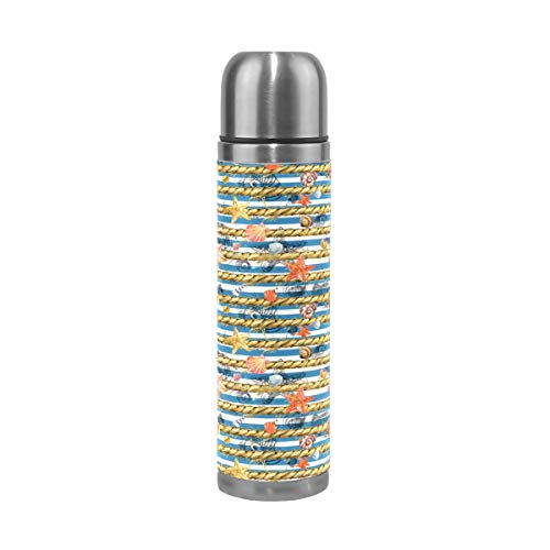Underwater World Coral Pattern Steel Water Bottle Leak-proof Double Walled Vacuum Insulated Travel Mug Genuine Leather Cover 17 Oz
