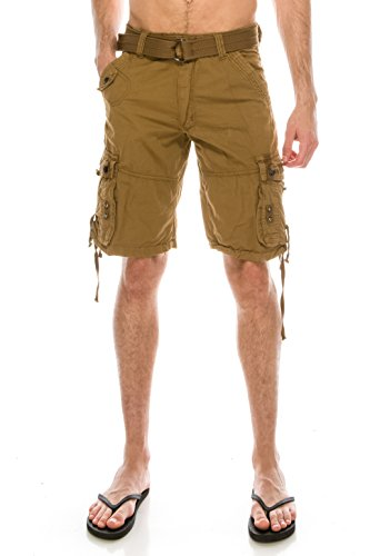 TreuM Men's Cotton Twill Bailey Belted Cargo Shorts Tactical Outdoor Wear Cell Phone Pocket (38, Tan)