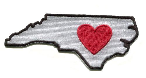 Heart in North Carolina Patch - Embroidered Thread Patch for MA Locals, Instant Application with a Sticky-Back, No Ironing Required. Apply to Clothing, Coolers, Water Bottles, Glass, Wood Asheville