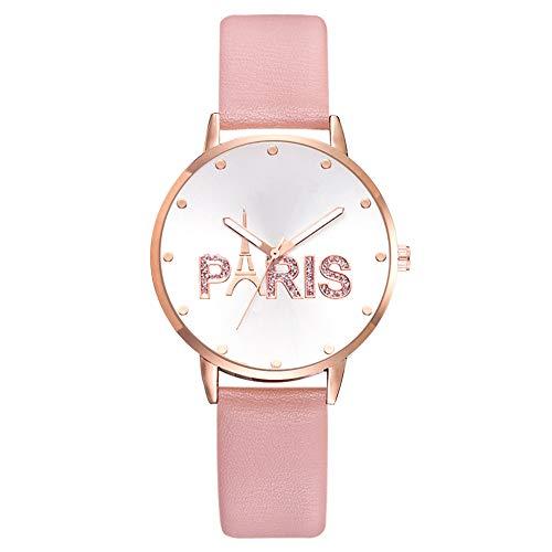 adonpshy Women's Watch&Fashion Women Glitter Paris Round Dial Faux Leather Band Quartz Wrist Watch,a Good Gift for Your Lover