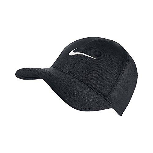 コンペ怒っている月(ナイキ) ロゴキャップ スウッシュ ブラック ホワイト ユニセックス Nike FeatherLight Cap Dri-FIT 679421-010 [並行輸入品]