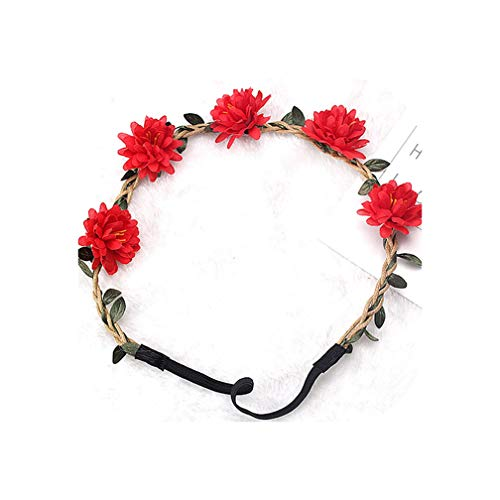 Girls Flower Wreath Garland Vine Chrysanthemum Elastic Rubber Hair Bands Bohemia Crown Headwear Hair Accessories,Red Garland