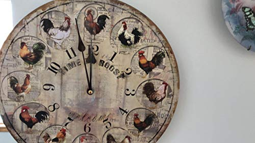 (Hadaaya Gifts & Home decor Farm Themed Large Wall Clock 13 inch MDF Wooden,Shabby Chic, Whit Hen and Roster Design on The face)