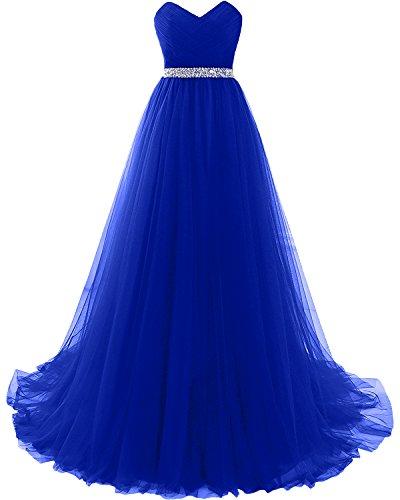 A Promkleider Lang Abendkleider Damen linie Herzausschnitt Blau Tuell Weinrot Partykleider Milano Abiballkleider Royal Bride w0vfqwF