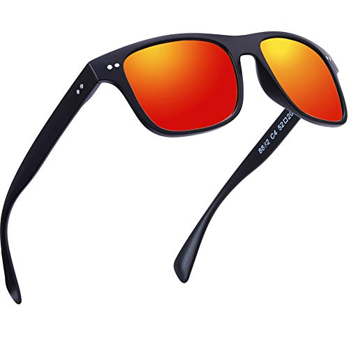 BRUWEN Polarized Sunglasses for Women Uv Protection, Mens Womens Wayfarer Sunglasses, Fashion Square Orange Mirrored Retro Sunglasses.