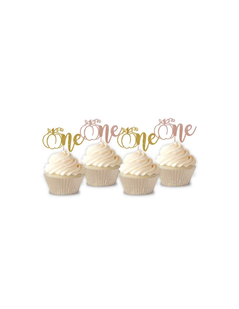 Pumpkin One Cupcake Toppers, Gold Glitter Pumpkin Cupcake Toppers, Cupcake Toppers, Pumpkin 1st Birthday, Little Pumpkin