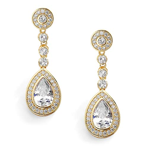 Mariell 14K Gold Plated Cubic Zirconia Clip-On Earrings, Framed Pear Shape Drops Wedding or Evening Style ()