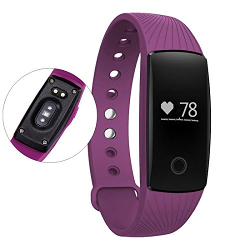 NASKY Bluetooth 4.0 Wireless Activity Smart Wristband Heart Rate Monitor Fitness Tracker (Purple)
