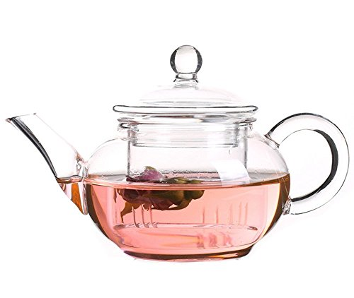 One Glass Teapot - Vivoice Ultra 8.5oz(One Cup) Clear Heat Resistant Glass Teapot Infuser with 250 ml Glass Filter