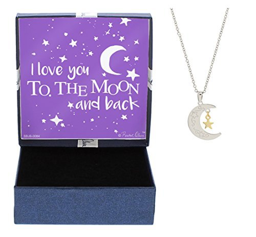 I Love You To The Moon And Back Necklace Silver Tone Mother Daughter Gift Jewelry Gift Box