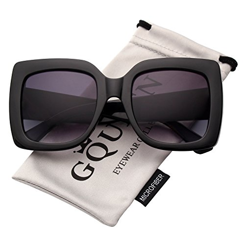 GQUEEN Women Oversized Square Frame Sunglasses Multiple Tinted Glitter Designer Inspired Stylish Shades S904 ()