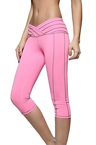 Davikey comfortable Women's Cotton Workout Tights Capri Pants PinkLarge