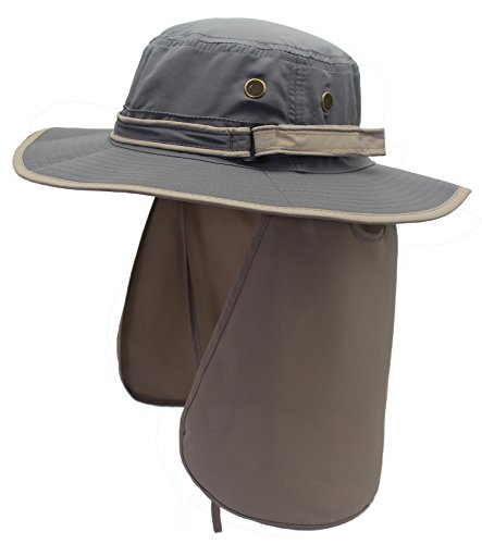 Home Prefer Unisex Quick Drying UV Protection Outdoor Sun Hat with Flap Neck Cover Foldable Fishing Cap Gray Brim