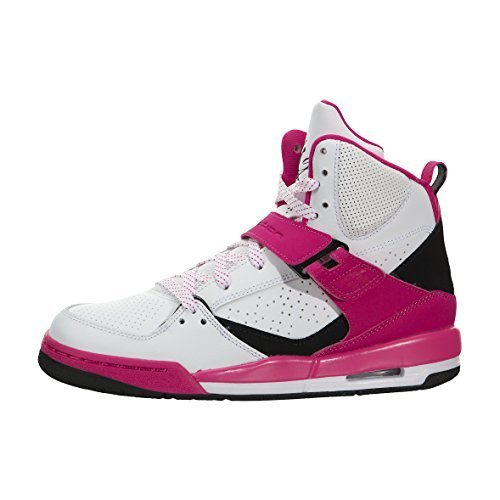 Nike air Jordan Flight 45 high IP GG hi top Trainers 837024 Sneakers Shoes (5, White Black Vivid Pink 158)