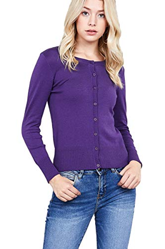 Hollywood Star Fashion Women's 3/4 Sleeve Crewneck Button up Cropped Cardigan Sweater (Medium, Purple) (Crewneck Warm Up Jacket)