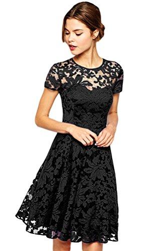 Halife Women Short Sleeve Pleated Lace Slim Dress