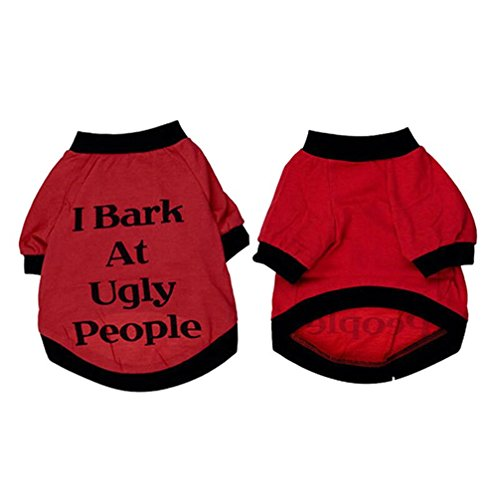 Puppy Clothes, Dog Cats Summer T Shirt 'I Bark At Ugly People' Sweatshirt for Pets Puppies Small Large Dogs (XL, Red)