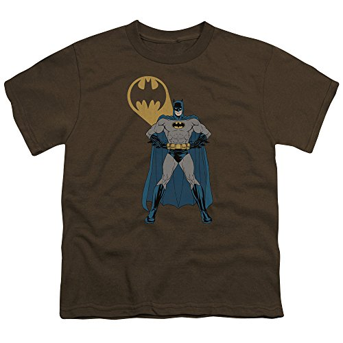 Batman Arms Akimbo Bats Unisex Youth T Shirt for Boys and Girls, Large Coffee