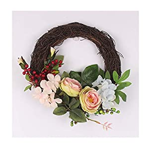 Artificial Flowers Door Wreath Wall Decoration Accessories Retro Rattan Garland Home Party Hotel Decor Gift 90