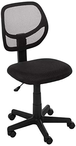 AmazonBasics Low-Back Computer Task/Desk Chair with Swivel Casters – Black (Renewed)