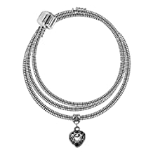 Silver plated pandora necklace with Heart filigree charm