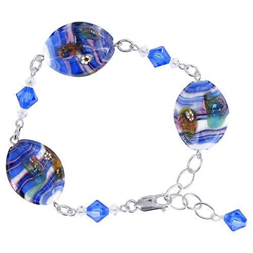 Millefiori Glass Beaded Bracelet - Gem Avenue 925 Sterling Silver Millefiori