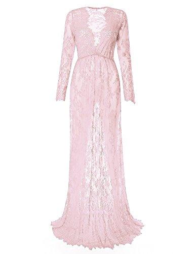 Saslax Maternity Sexy Deep V-Neck Long Sleeve Lace See-Through Maxi Dress For Beach Pink L