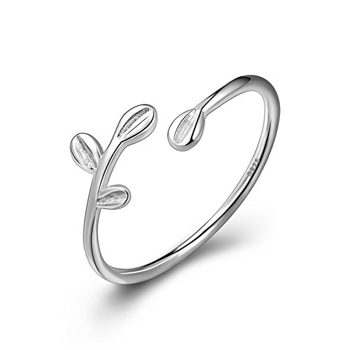 terling Silver Adjustable Leaf Open ring Fine Jewelry for Women, Best Gift for Mother Wife Girlfriend at Christmas Birthday (Sterling Silver Fashion Ring)